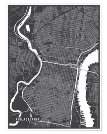 Póster Philadelphia USA Map