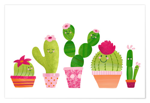 Póster Cactuses in the pot