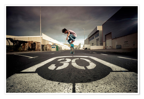 Póster Spain, Tenerife, boy skating on a road