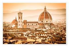 Póster  Cityscape with Cathedral and Brunelleschi Dome, Florence - Cubo Images