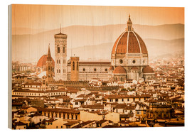 Cuadro de madera  Cityscape with Cathedral and Brunelleschi Dome, Florence - Cubo Images