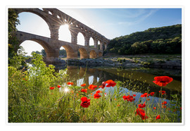 Póster France, Gard, the Pont du Gard listed as World Heritage by UNESCO, Big Site of France, Roman aqueduc