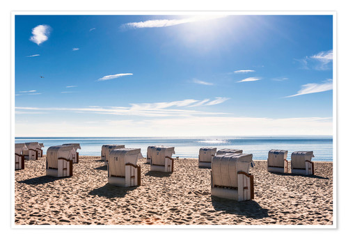 Póster Germany, Schleswig-Holstein, Bay of Luebeck, hooded beach chairs on the beach