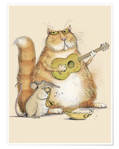 Póster Cat and mouse playing music