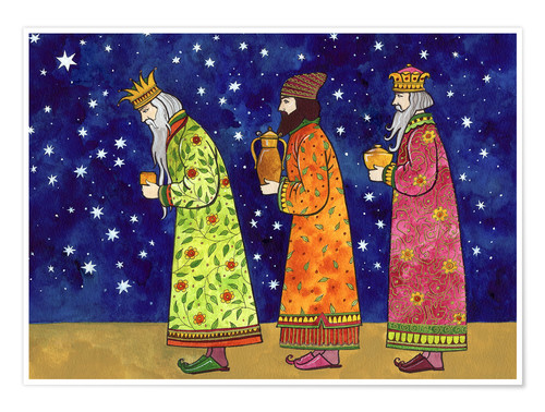 Póster Three kings carrying gifts, stars in sky