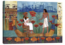 Lienzo  Egyptian fresco with boat and man and woman