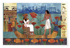 Póster Egyptian fresco with boat and man and woman
