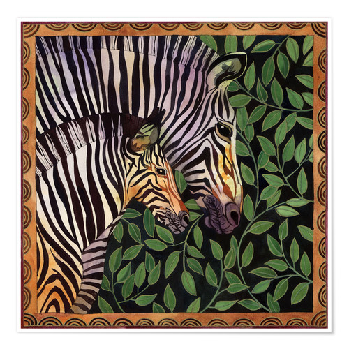 Póster Two zebras against leaves