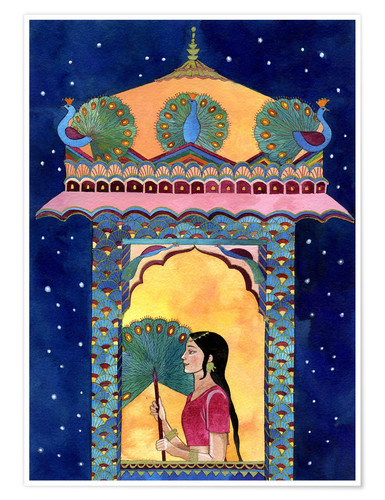 Póster Indian woman in window, peacocks on roof