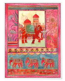 Póster  Elephants, architecture and floral pattern