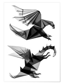 Póster Origami dragon and eagle