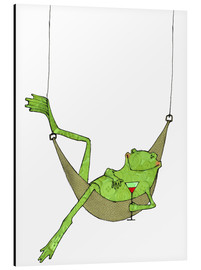Aluminio-Dibond  Frog lying in hammock with drink glass