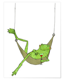 Póster  Frog lying in hammock with drink glass