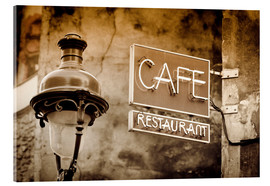 Metacrilato  Cafe sign and lamp post, Paris, France. - age fotostock