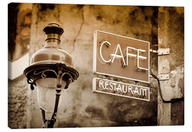 Lienzo  Cafe sign and lamp post, Paris, France. - age fotostock