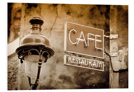 Cuadro de PVC  Cafe sign and lamp post, Paris, France. - age fotostock
