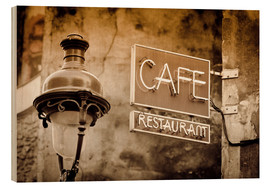 Madera  Cafe sign and lamp post, Paris, France. - age fotostock