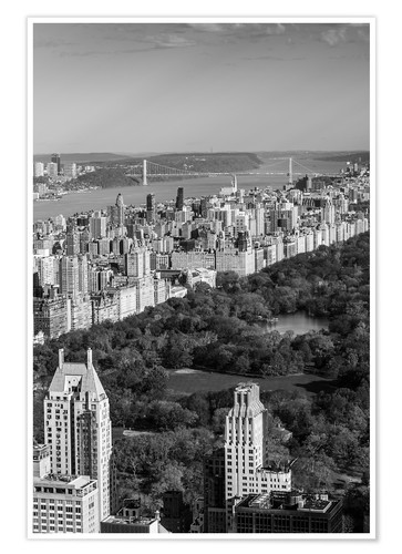 Póster USA, New York, New York City, elevated view of the Upper West Side of Manhattan and Central Park fro
