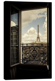 Lienzo  The Eiffel Tower, Paris, France, viewed through an open window. - age fotostock
