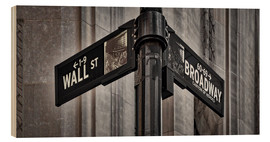 Cuadro de madera  NYC Wall Street And Broadway Sign-New York City's Broadway Canyon of Heroes and Wall Street Sign. - age fotostock