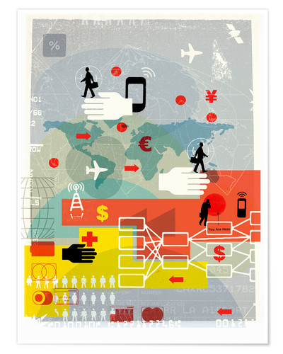 Póster Global communication, finance and travel