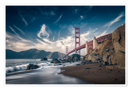 Póster  Playa y puente Golden Gate - Westend61