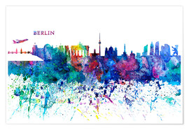 Póster Skyline BERLIN Colorful Silhouette PL