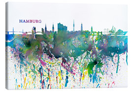 Lienzo  Skyline HAMBURG Colorful Silhouette Splash - M. Bleichner