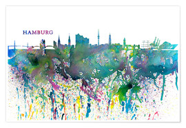 Póster Skyline HAMBURG Colorful Silhouette Splash