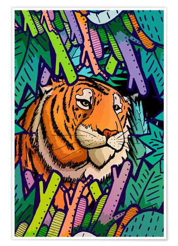 Póster Tiger in the undergrowth