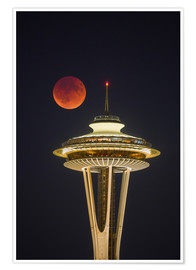 Póster Blood moon over Seattle Space Needle