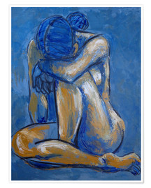 Póster Blue Heart - Female Nude
