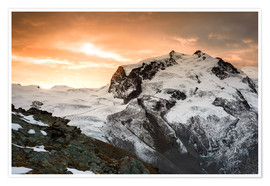 Póster Monte Rosa mountain peak during a dramatic sunrise  View from Gornergrat, Zermatt, Valais, Switzerla