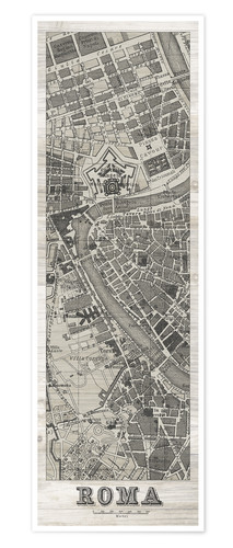 Póster Roma Map Panel on Wood
