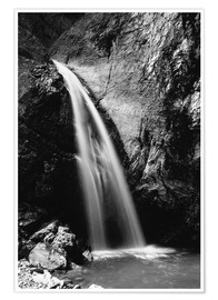 Póster Black and White image of Chessiloch Waterfall, Entlebuch, Switzerland