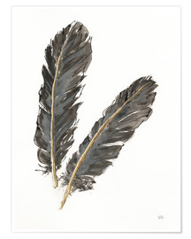 Póster  Gold Feathers IV on White - Chris Paschke