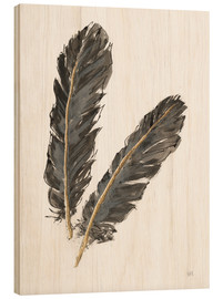 Madera  Gold Feathers IV on White - Chris Paschke