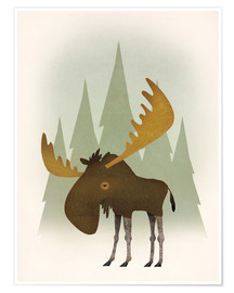 Póster  Forest Moose - Ryan Fowler