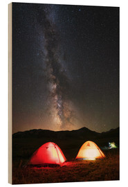 Cuadro de madera  Shining tents under the Milky Way - Yuri Zvezdny