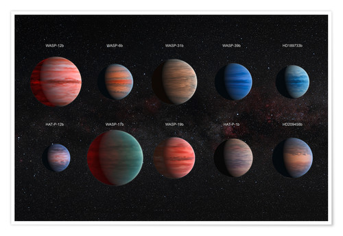 Póster Exoplanets with different cloud textures