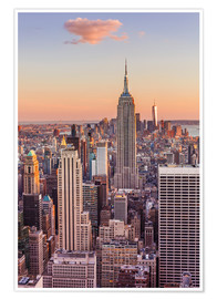 Póster Manhattan skyline, New York skyline, Empire State Building, sunset, New York City, United States of