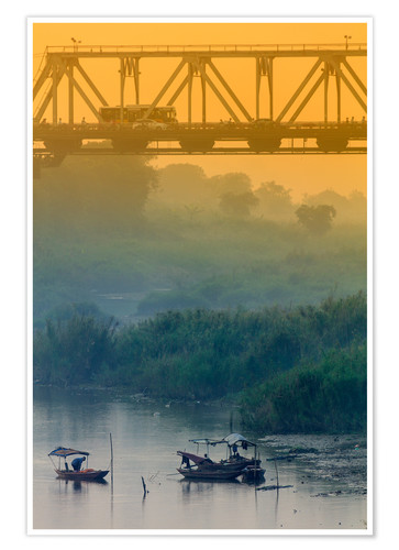 Póster Iron bridge over the Red River in Hanoi, Vietnam, Indochina, Southeast Asia, Asia