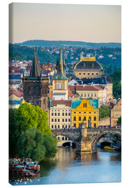 Lienzo  View of Charles Bridge and buildings in Mala Strana Old Town from Letna Park, on Letna Hill, Prague, - Jason Langley