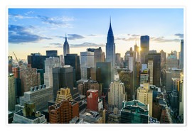 Póster Manhattan skyline, Empire State Building and Chrysler Building at sunset, New York City, United Stat