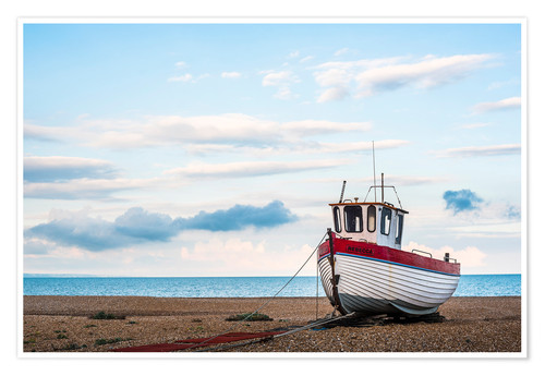 Póster Fishing boat on Dungeness Beach, Kent, England, United Kingdom, Europe