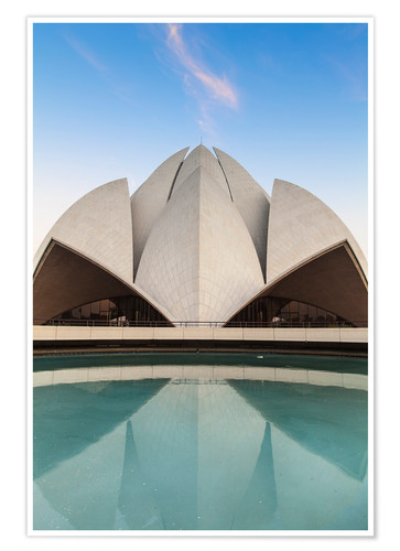Póster Bahai House of Worship known as the The Lotus Temple, New Delhi, Delhi, India, Asia