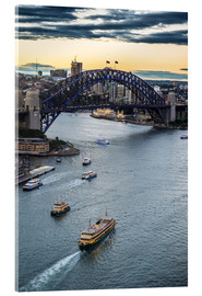 Cuadro de metacrilato  View over Sydney harbour after sunset, Sydney, New South Wales, Australia, Pacific - Michael Runkel