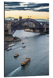 Cuadro de aluminio  View over Sydney harbour after sunset, Sydney, New South Wales, Australia, Pacific - Michael Runkel