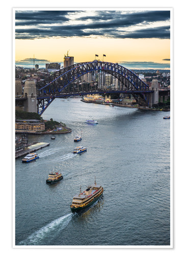 Póster View over Sydney harbour after sunset, Sydney, New South Wales, Australia, Pacific