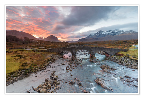 Póster Sgurr nan Gillean in the Cuillin mountains from Sligachan Bridge, Isle of Skye, Inner Hebrides, Scot